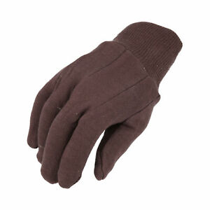 1 Dozen Brown Jersey Work Gloves For Men s One Size Fits All 12 Pairs