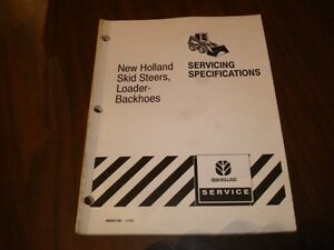 New Holland Skid Steer Loader Servicing Specifications Manual Ar25