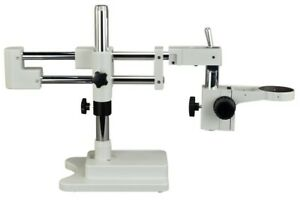Omax Double arm Stereo Microscope Boom Stand Heavy Duty W Focusing Racking 76mm