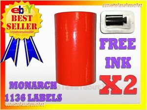 2 Sleeves Fluorescent Red Label For Monarch 1136 Pricing Gun 2 Sleeves 16rolls