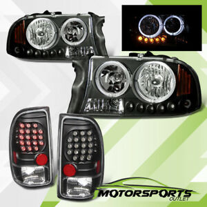 led Halo 1997 2004 Dodge Dakota Black Led Headlights led Brake Tail Lights Set