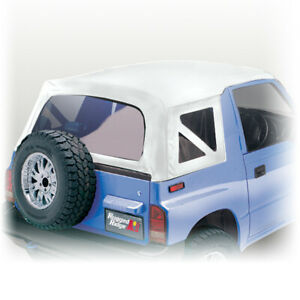 Soft Top White Denim Clear Windows For Suzuki Sidekick 88 94 Rugged Ridge