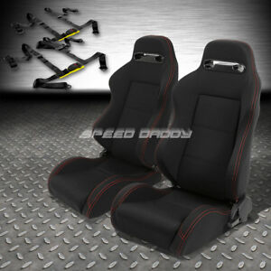 2x Type r Black Canvas Reclinable Racing Seat 4 point Black Harness Buckle Belt