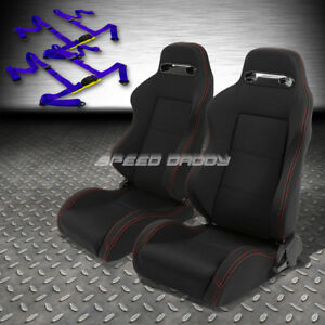 2x Type r Black Canvas Reclinable Racing Seat 4 point Blue Harness Buckle Belt