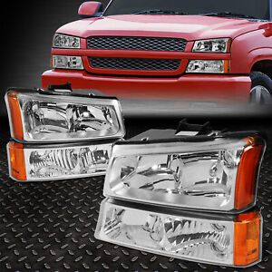 For 2003 2006 Chevy Silverado Chrome Housing Amber Side Headlight Lamp Set 4pcs