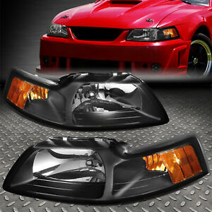 For 1999 2004 Ford Mustang Pair Black Housing Amber Corner Headlight lamp Set