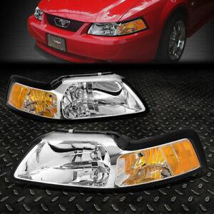 For 1999 2004 Ford Mustang Pair Chrome Housing Amber Corner Headlight lamp Set