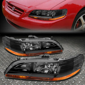 For 98 02 Honda Accord Black Housing Amber Corner Headlight Replacement Lamps