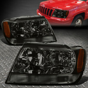 For 1999 2004 Jeep Grand Cherokee Smoked Housing Amber Corner Headlight lamp Set