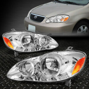 For 2003 2008 Toyota Corolla Pair Chrome Housing Amber Side Headlight Lamp Set