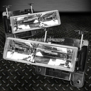 For 88 00 Gmc Sierra C k 1500 2500 3500 Truck Chrome Housing Headlight Lamps
