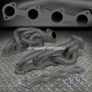 For 97 03 Ford F150 f250 expedition 5 4 V8 Black Coated Header Exhaust Manifold