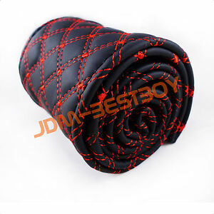 Leather Steering Wheel Cover With Needles Thread Diy Black Red Size M Usa