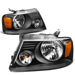 Fit 2004 2008 Ford F150 Pickup Pair Black Housing Amber Side Headlight Lamp Set