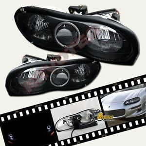 1998 2002 Chevy Camaro Z28 Ss Base Black Halo Headlights 1 Pair 99 00 01