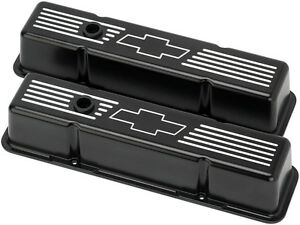 Billet Specialties Chevy Bowtie Black Aluminum Sbc Tall Valve Covers bow Tie