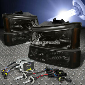 Smoked Headlight Bumper 12000k Hid Kit Ballast For 03 06 Silverado Avalanche