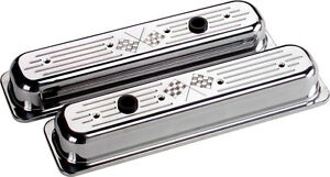 Billet Specialties Cross Flags Polished Alum Sbc Center Bolt Short Valve Covers