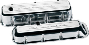 Billet Specialties Chevrolet Script Polished Aluminum Bbc Short Valve Covers