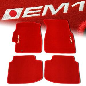 96 00 Honda Civic Em1 Custom Fit Floor Mats Non Skid Carpet Set Kit 4 Pc Red