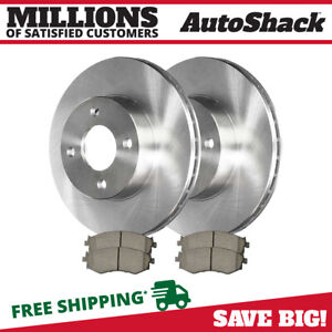 Front 2 Brake Rotors 4 Ceramic Brake Pad Fits 2000 2006 Nissan Sentra Base S