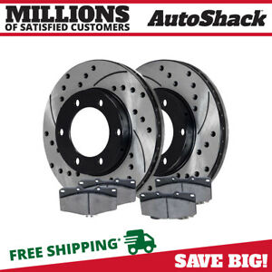 Drilled Slotted Rotors And Ceramic Brake Pads Set Fits Toyota Tacoma 4runner