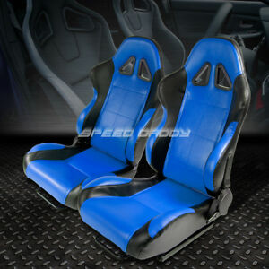 Pair Of Reclinable Pvc Leather Blue Black Trim Bucket Racing Seats sliders rails