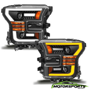 led Halo 1992 1996 Ford Bronco f150 f250 f350 Projector Black Headlights Pair