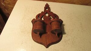Antique Wood Match Holder South Bend Indiana Variety Bracket Works