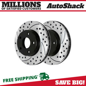 Rear Drilled Slotted Brake Rotor Pair For 2005 2011 2012 2013 2014 Ford Mustang