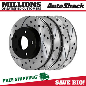 Front Rear Drilled Slotted Disc Brake Rotors Set Of 4 For Ford Mustang 5 0l V8