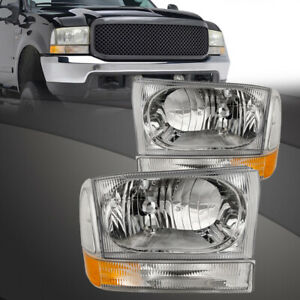 99 04 Ford F250 F350 F450 Superduty Excursion Chrome Headlights 4pc Set