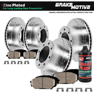 Front Rear Drill Slot Brake Rotors And 8 Ceramic Pads For Ram 1500 2500 3500