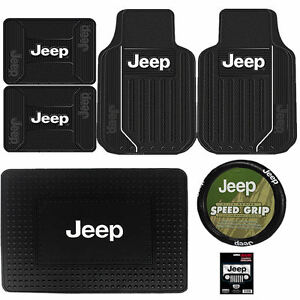 7pc Jeep Elite Black Front Rear Cargo Rubber Floor Mats Steering Wheel Cover New
