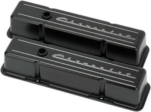 Billet Specialties Chevrolet Script Black Aluminum Sbc Tall Valve Covers chevy
