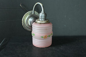 Mid Cent Modern 1950 S Chrome Plated Wall Sconce Hand Painted Ribbed Shade 6820
