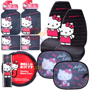 Hello Kitty Core Car Seat Covers Accessories Complete 9pc W Rare Sunshade