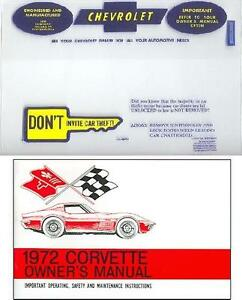 1972 72 Corvette Owners Manual Cover