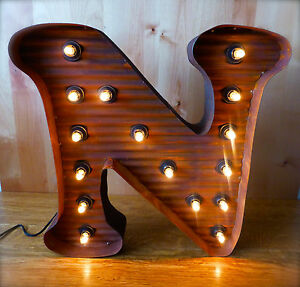 Lg Brown Vintage Style Light Up Marquee Letter N 24 Tall Novelty Metal Sign