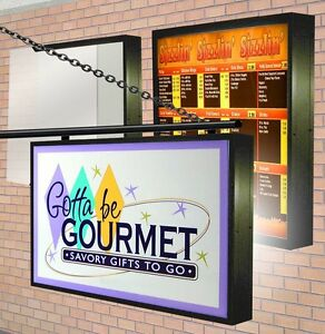Led Illuminated Lightbox 2 Double Sided Outdoor With Sign Graphics 3 x8 9