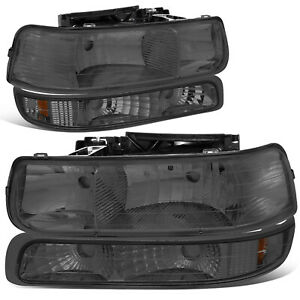 For 1999 2002 Chevy Silverado Smoked Housing Amber Corner Headlight Bumper Lamps