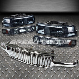 For 99 02 Silverado 00 06 Tahoe Chrome Front Grill Smoke Housing Headlights Lamp
