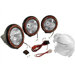 Rugged Ridge 15205 63 Black Compsite Housing 7 Round Hid Off Road Fog Light Kit
