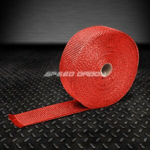 2 X 600 50ft Fiberglass Exhaust Header Down Pipe Turbo Manifold Heat Wrap Red