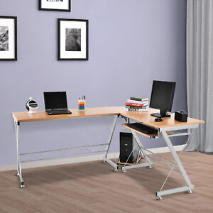 Homcom 3pc L shaped Corner Desk Student Computer Workstation Home Office Study