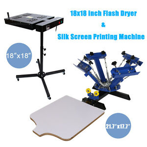 Diy 4 Color 1 Station Silk Screen Printing Press Machine With Flash Dryer