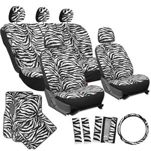 21pc White Zebra Print Seat Covers Set Floor Mats Steering Wheel Belt Pads
