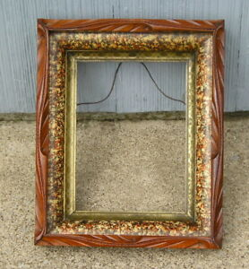 Antique Eastlake Victorian Faux Tortoise Rustic Edge Picture Frame 6 1 2 X 8 7 8