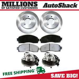 Front 2 Brake Rotors 4 Ceramic Pads 2 Hub Bearing Fits 02 05 Ford Explorer