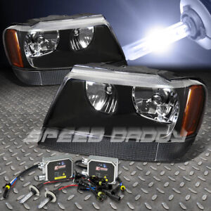 Fits 99 04 Jeep Grand Cherokee Wj Black Headlights 9006 Bulb 10000k Hid Ballast